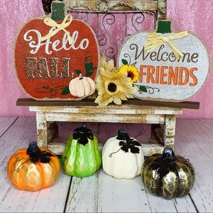 🧡🍁6pc Fall Harvest Pumpkins Welcome Sign Decor!
